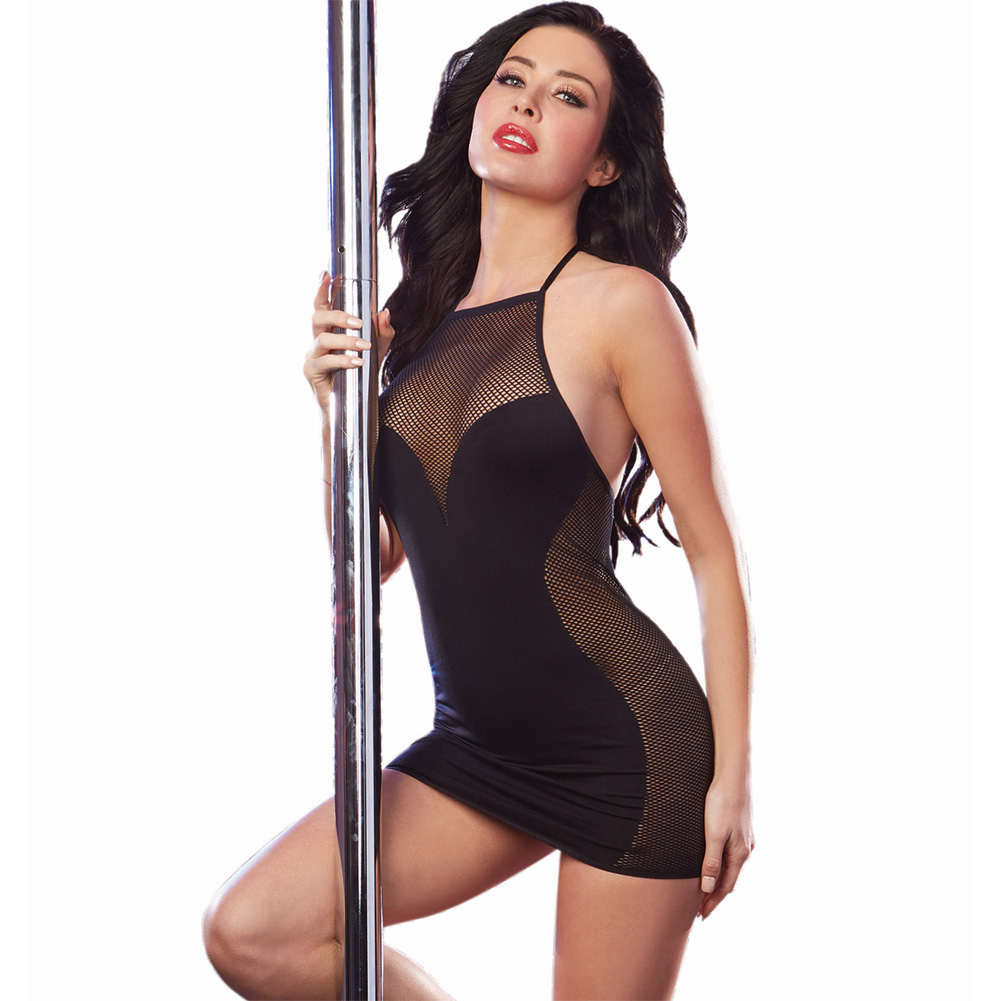 Stretch Jersey Ruched Dress with Built in Underwire Bra Black One Size - View #1