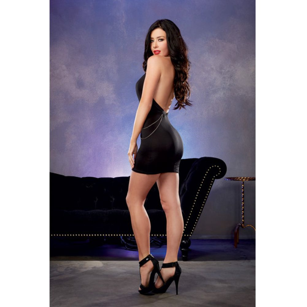 Microfiber Halter Dress with Plunging Keyhole Neckline and Chain Detail Black Small - View #4