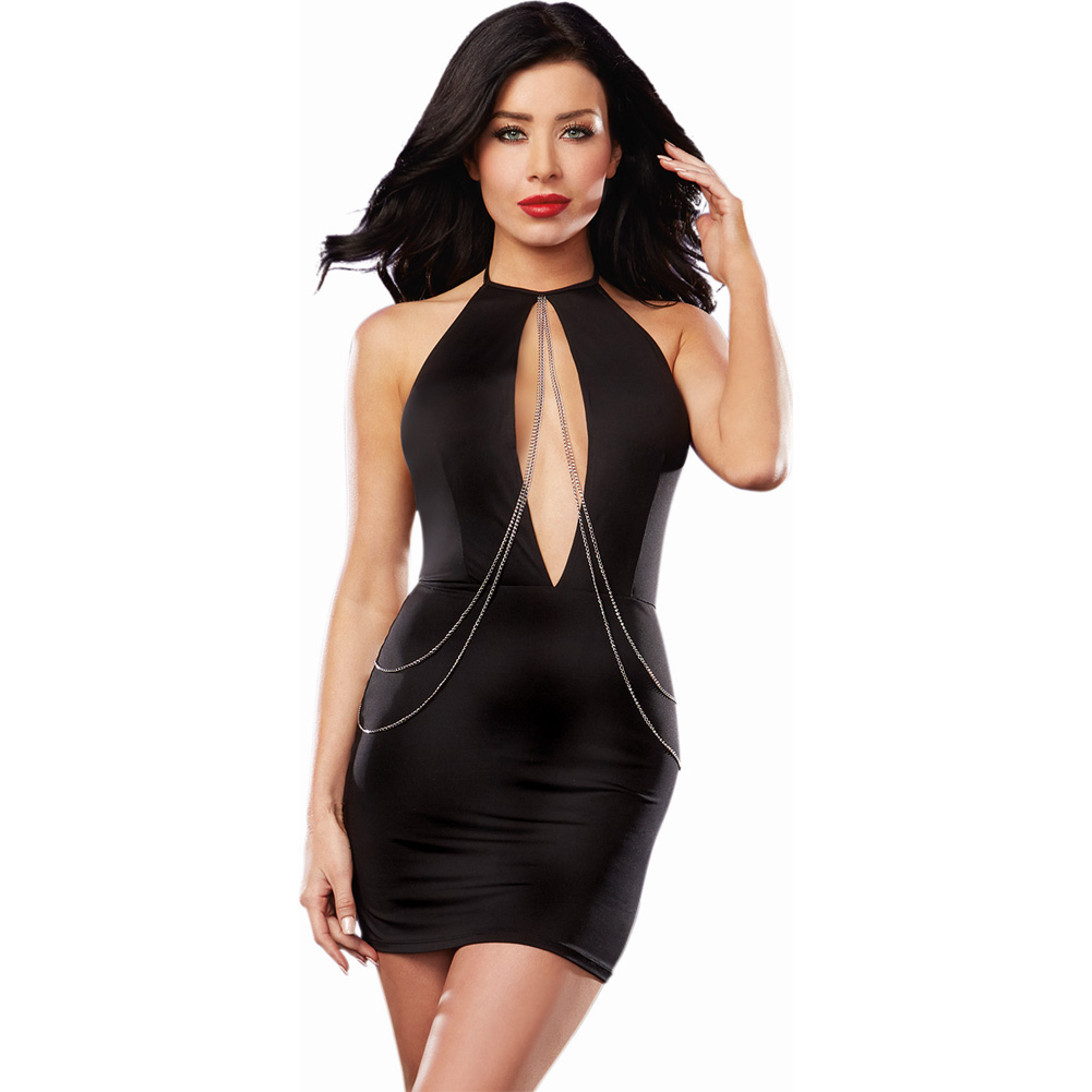 Microfiber Halter Dress with Plunging Keyhole Neckline and Chain Detail Black Medium - View #1