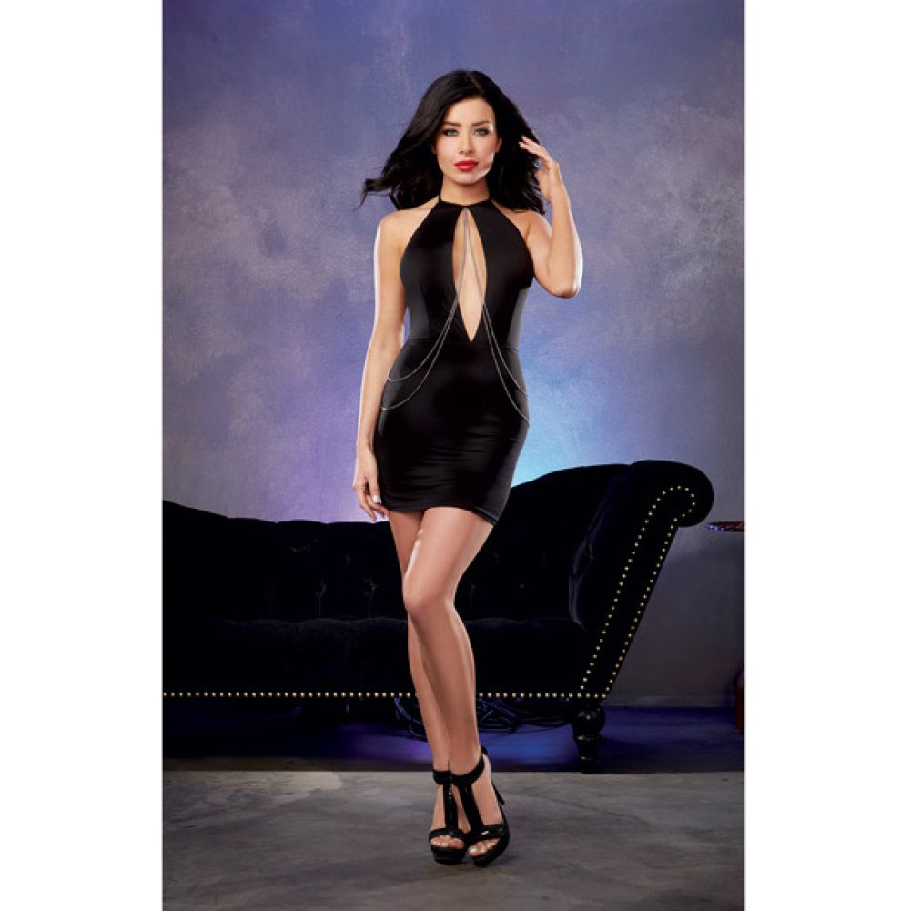 Microfiber Halter Dress with Plunging Keyhole Neckline and Chain Detail Black Medium - View #3