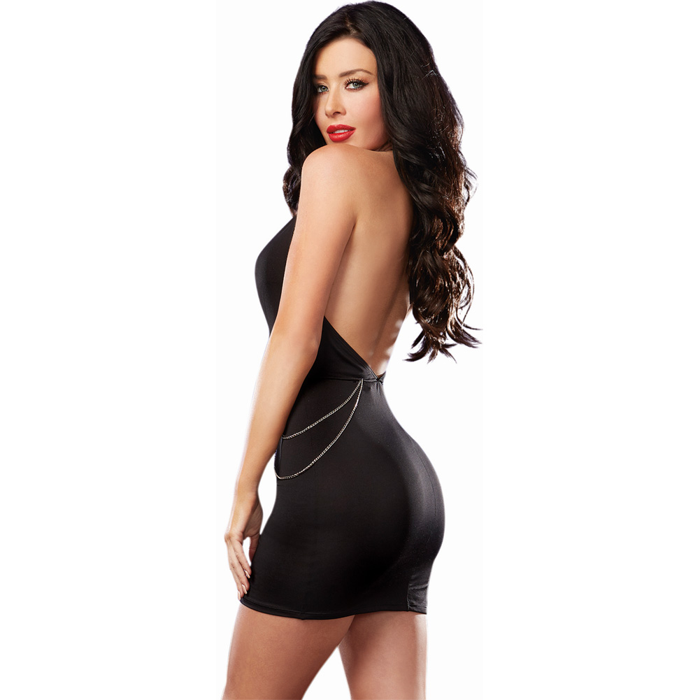 Microfiber Halter Dress with Plunging Keyhole Neckline and Chain Detail Black Large - View #2