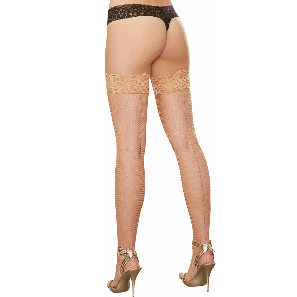 Stay Up Fishnet Thigh Highs with Back Seam Thong Not Included Nude One Size - View #1