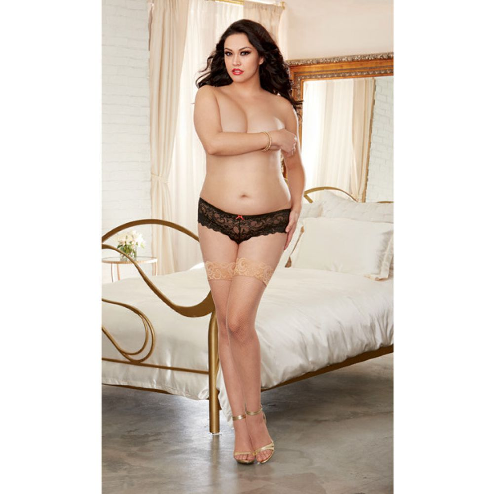 Stay Up Fishnet Thigh Highs with Back Seam Thong Not Included Nude Queen - View #4