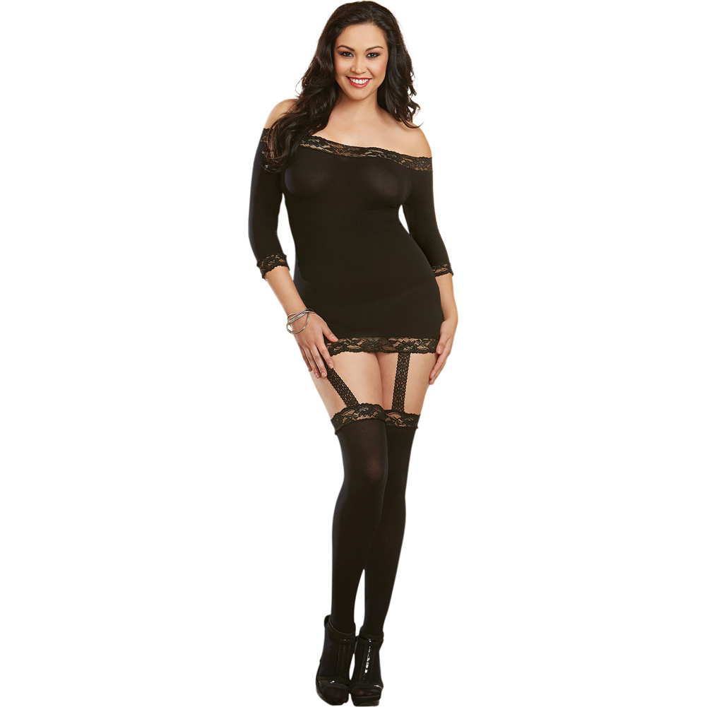 Semi Sheer with Stretch Lace Trims Attached Garters and Thigh High Stockings Black Queen - View #1