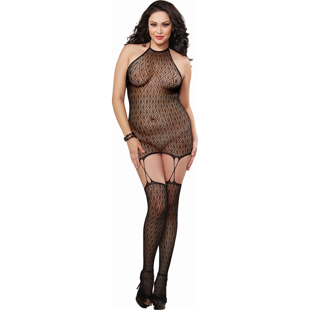 Lace Chemise with Attached Garter Straps Thigh High Stockings Black Queen - View #1