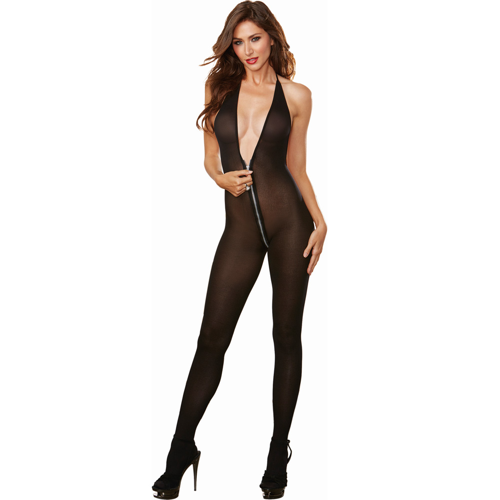 Semi Opaque Halter Bodystocking with Adjustable Halter Ties and Front to Back Zipper Black One Size - View #1