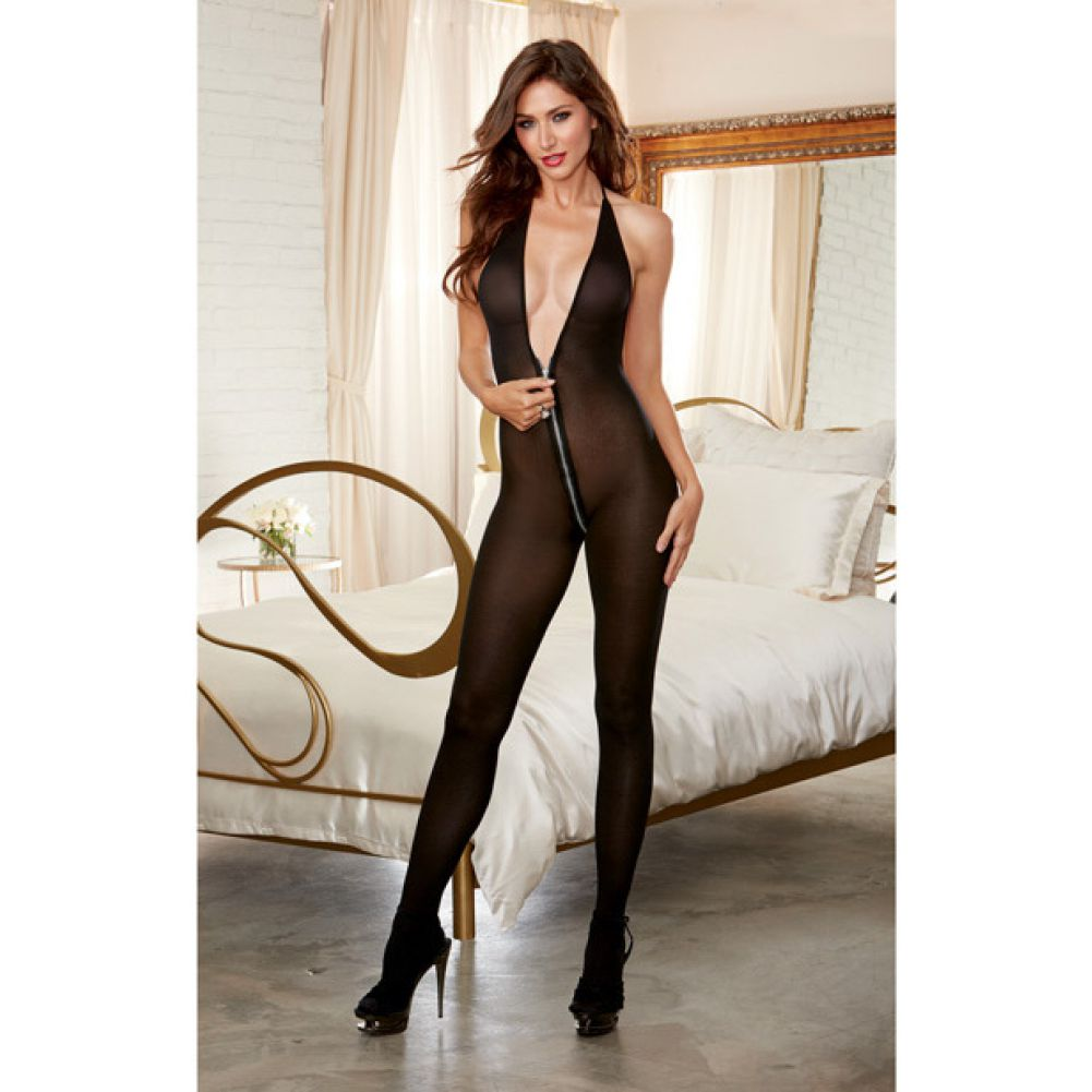 Semi Opaque Halter Bodystocking with Adjustable Halter Ties and Front to Back Zipper Black One Size - View #3