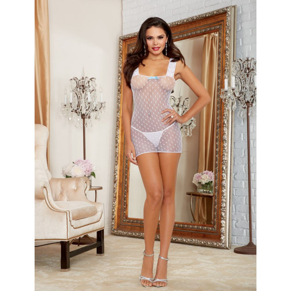 Heart Patterned Stretch Fishnet Chemise with Adjustable Back Lace Up Detail White One Size - View #4