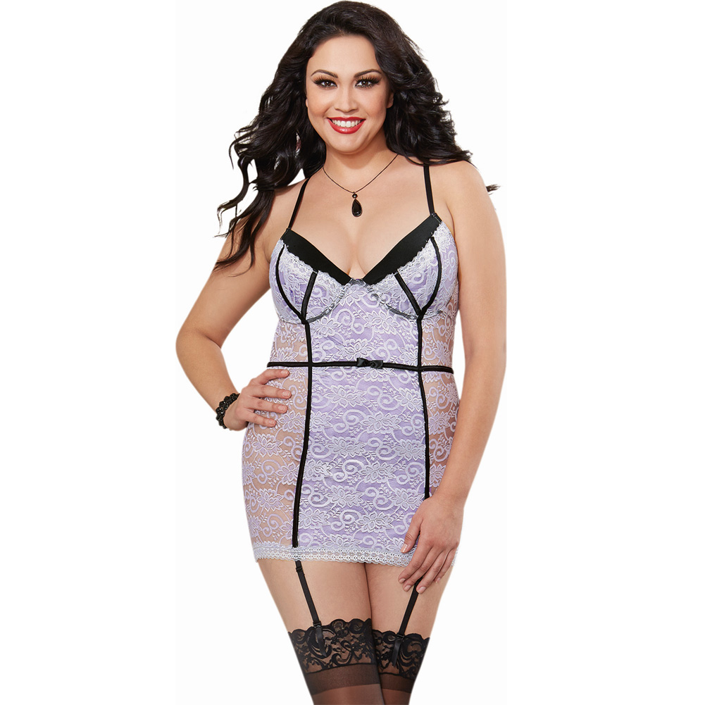 Stretch Lace Garter Slip with Underwire Cups and Removable Garters 1X/2X Lavender/Black - View #1