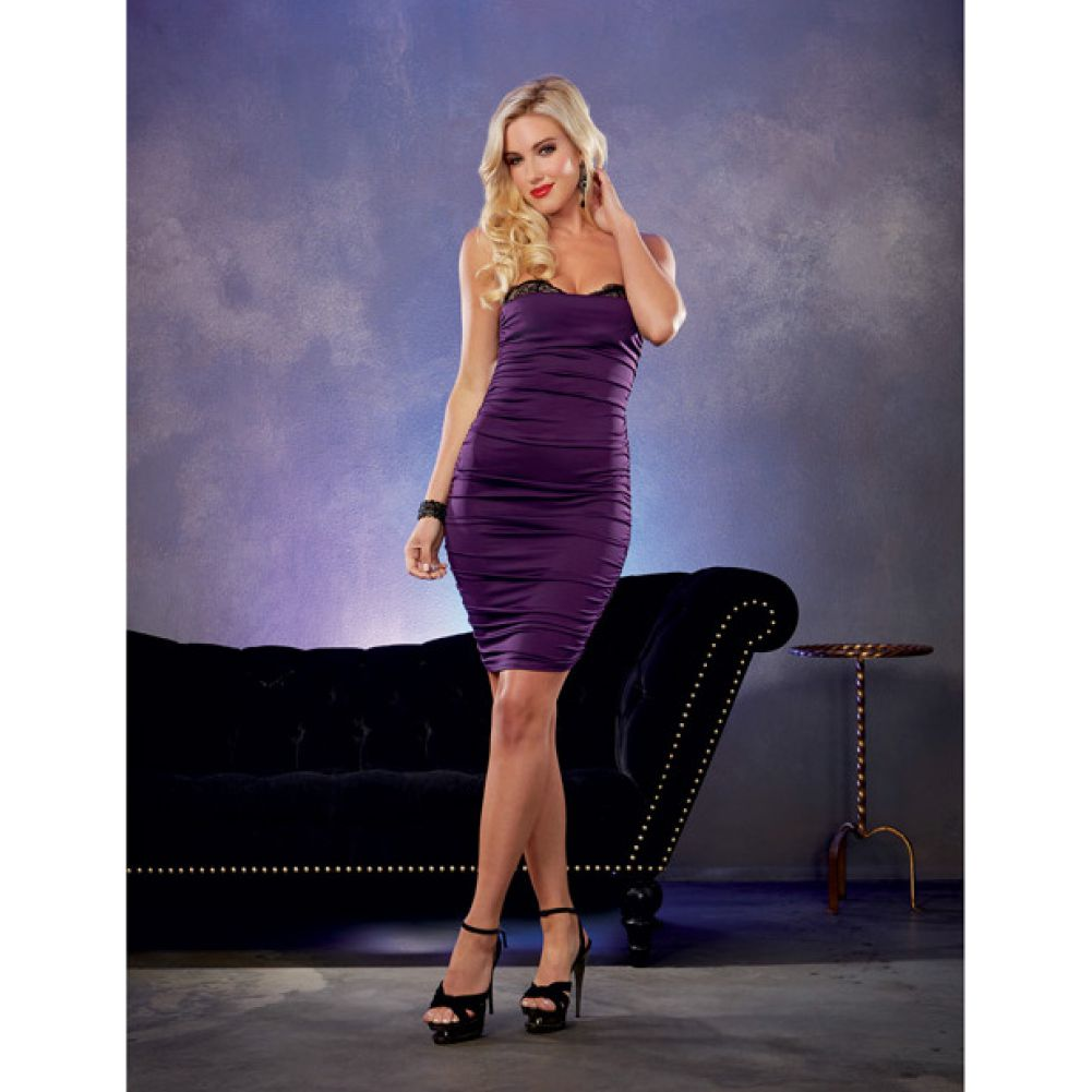 Stretch Jersey Ruched Dress with Built in Underwire Lace Bra Plum Small - View #3