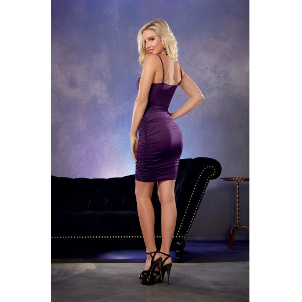 Stretch Jersey Ruched Dress with Built in Underwire Lace Bra Plum Medium - View #4