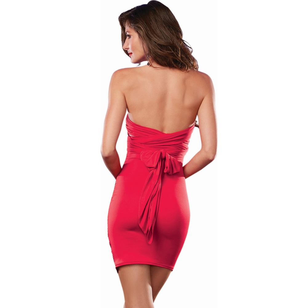 Dreamgirl 6-Way Ruched Front Stretch Jersey Dress Lingerie Small Hot Red - View #4