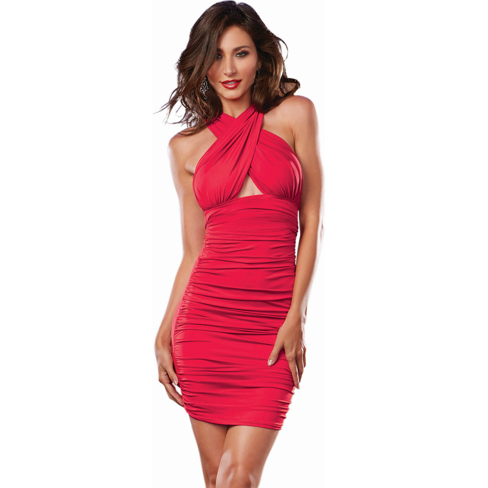 Stretch Jersey Ruched Front Mid Thigh Length Versatile Dress That Can Be Worn 6 Ways Red Medium - View #1
