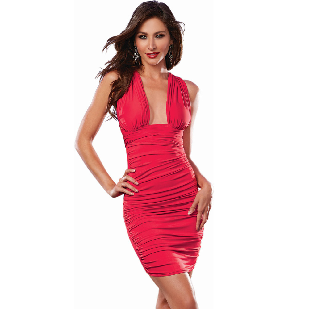 Stretch Jersey Ruched Front Mid Thigh Length Versatile Dress That Can Be Worn 6 Ways Red Medium - View #3