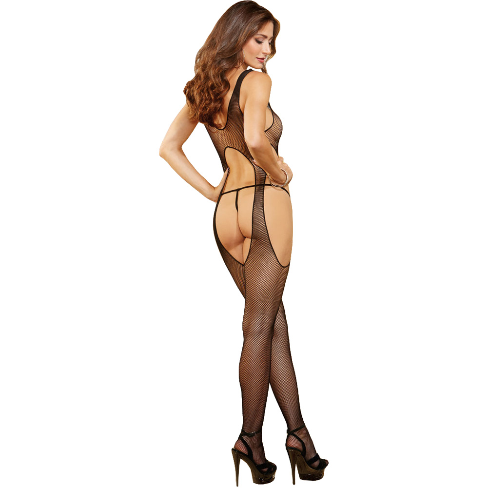 Body Stocking with Front and Back Cut Outs Black One Size - View #2