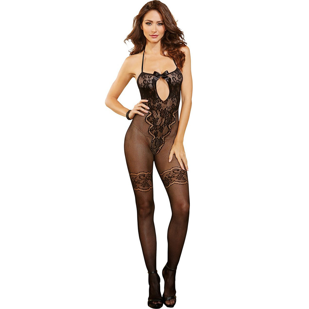 Body Stocking with Lace and Bow Accents Black One Size - View #1