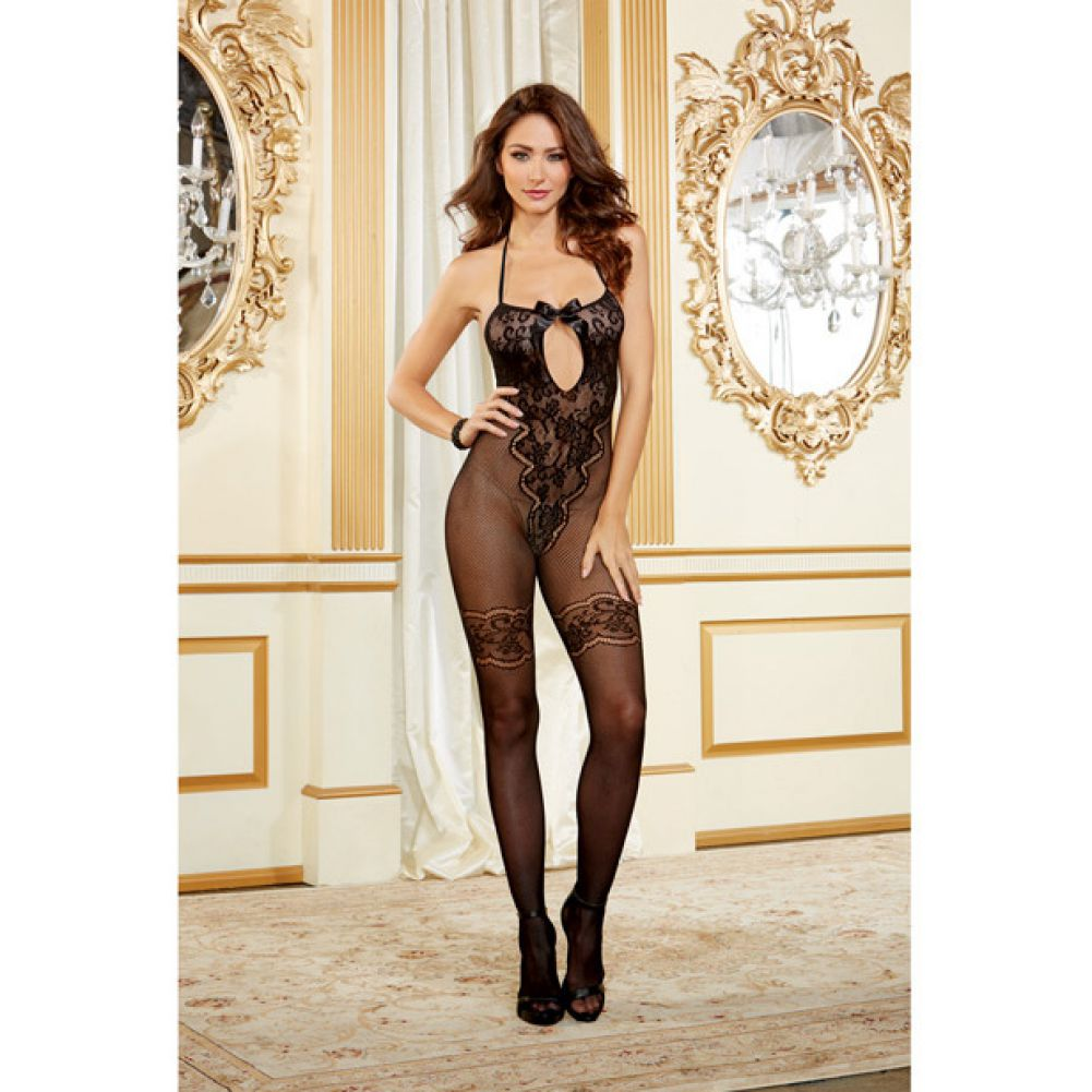 Body Stocking with Lace and Bow Accents Black One Size - View #3