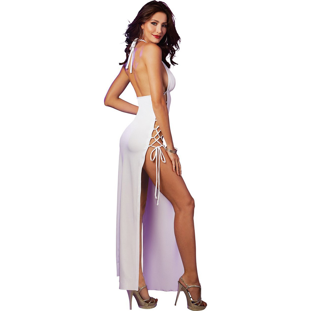 Stretch Jersey Full Length Unlined Halter Dress with Open Sides and Adjustable L.. - View #2
