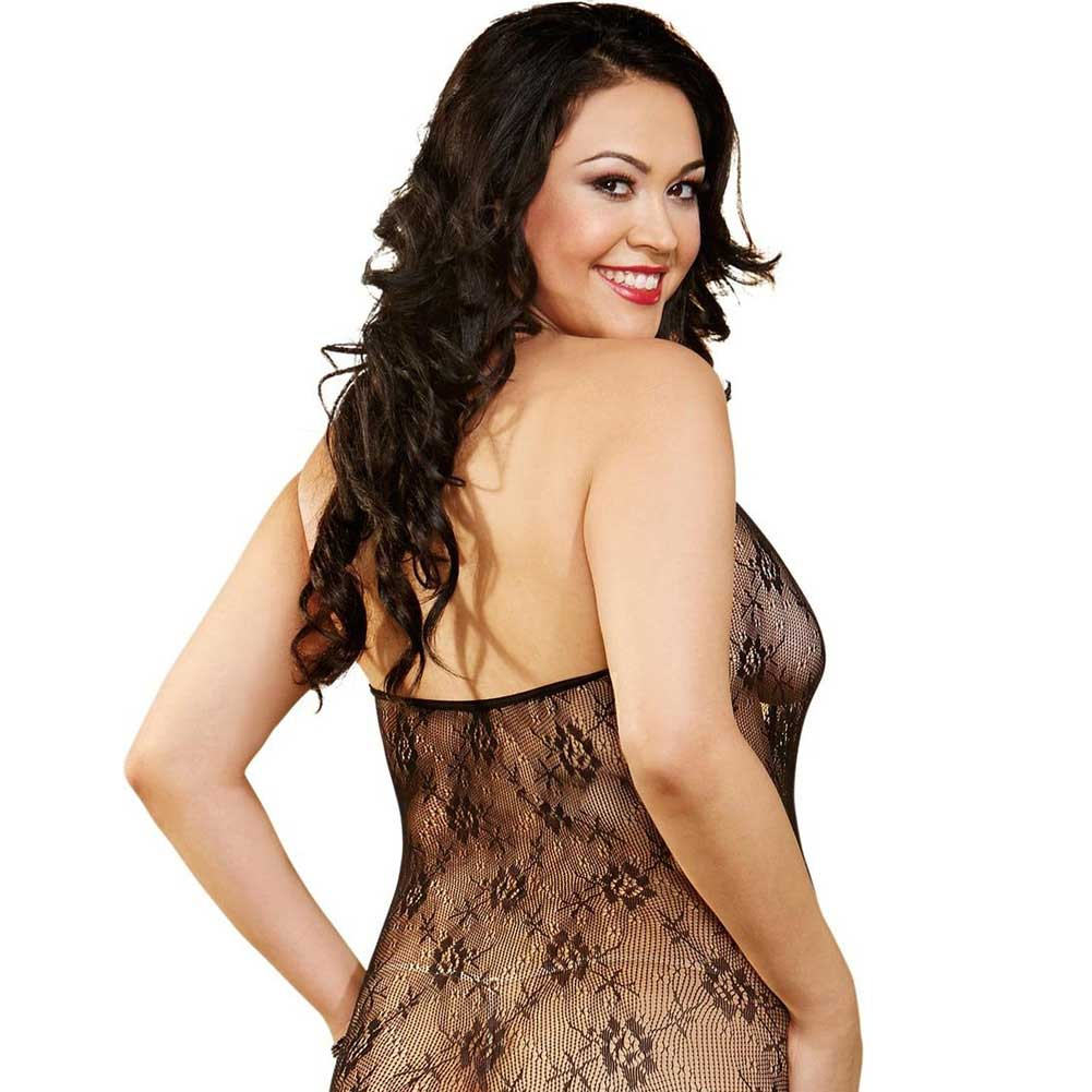 Floral Mesh Knee Length Chemise with Lace Up Front Black Queen - View #2