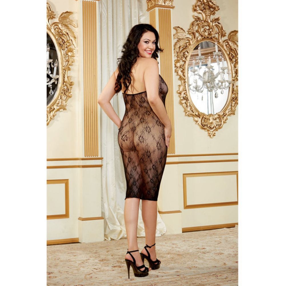 Floral Mesh Knee Length Chemise with Lace Up Front Black Queen - View #4