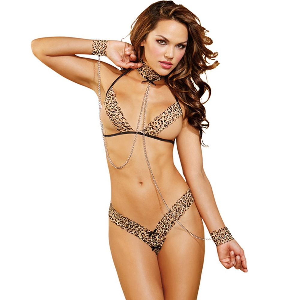 Bra and Thong Collar with Attached Chain Restraints Leopard One Size - View #1