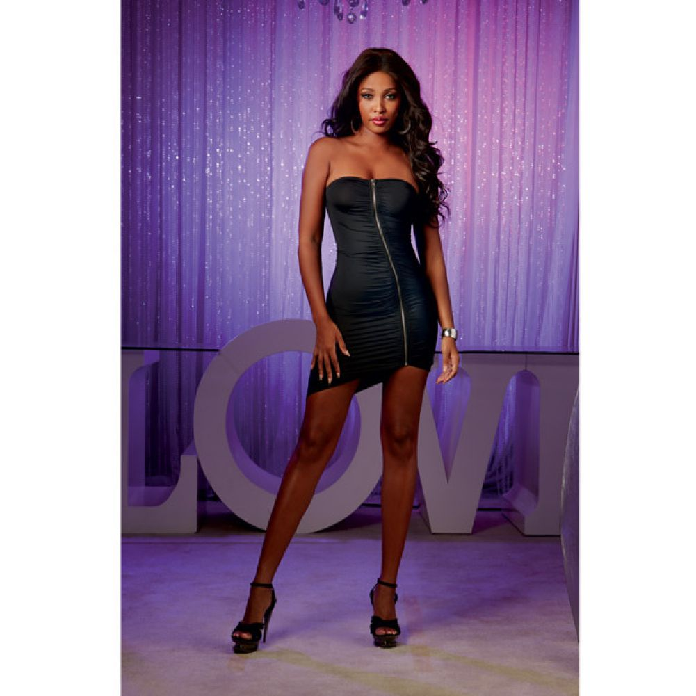 Strapless Dress with Zip Up Front Black Small - View #3