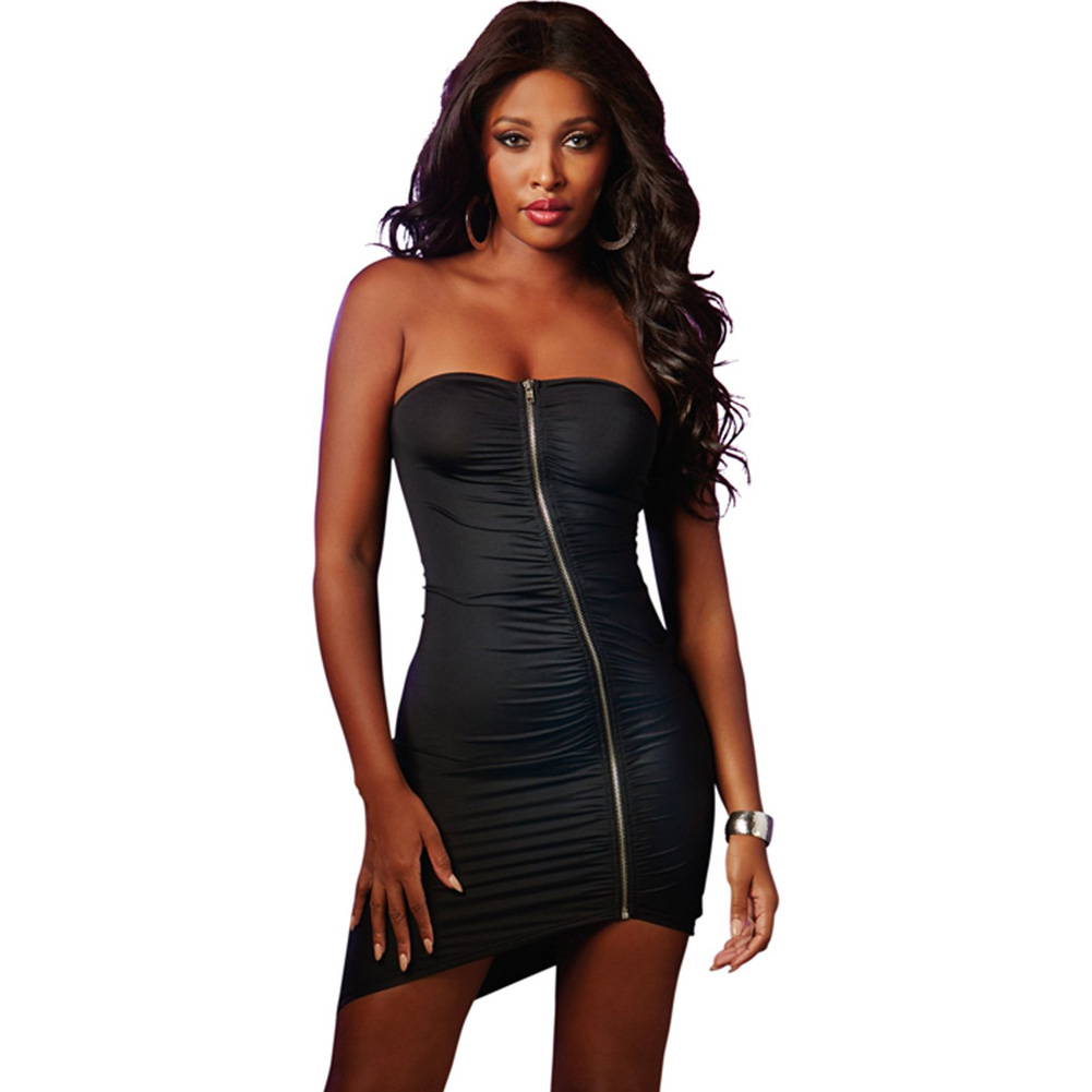 Strapless Dress with Zip Up Front Black Large - View #1