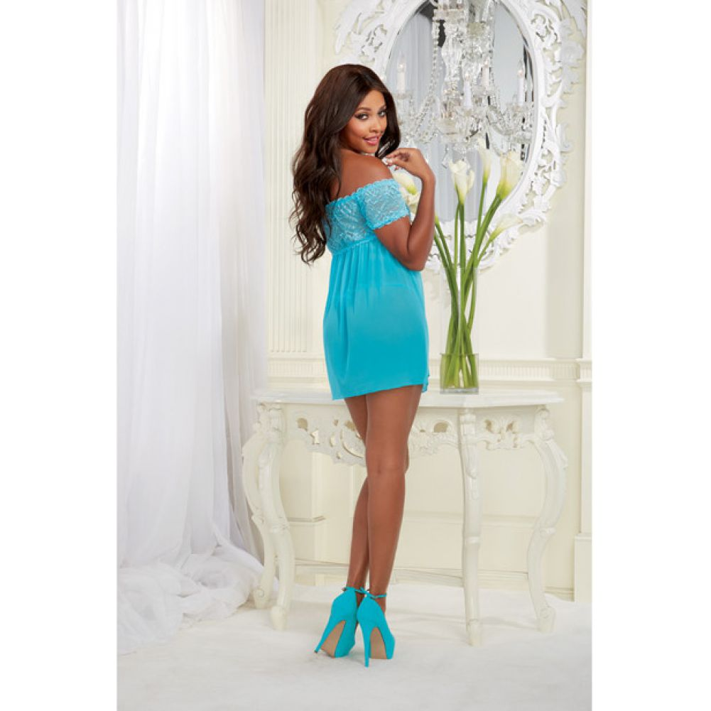 Mesh and Lace Off the Shoulder Babydoll with G-String Turquoise One Size - View #4