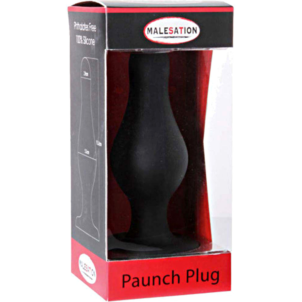 "Malesation Silicone Paunch Anal Plug 6"" Black - View #1"
