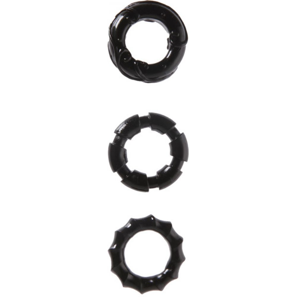 Malesation Stretchy Cock Rings Black Pack of 3 - View #2