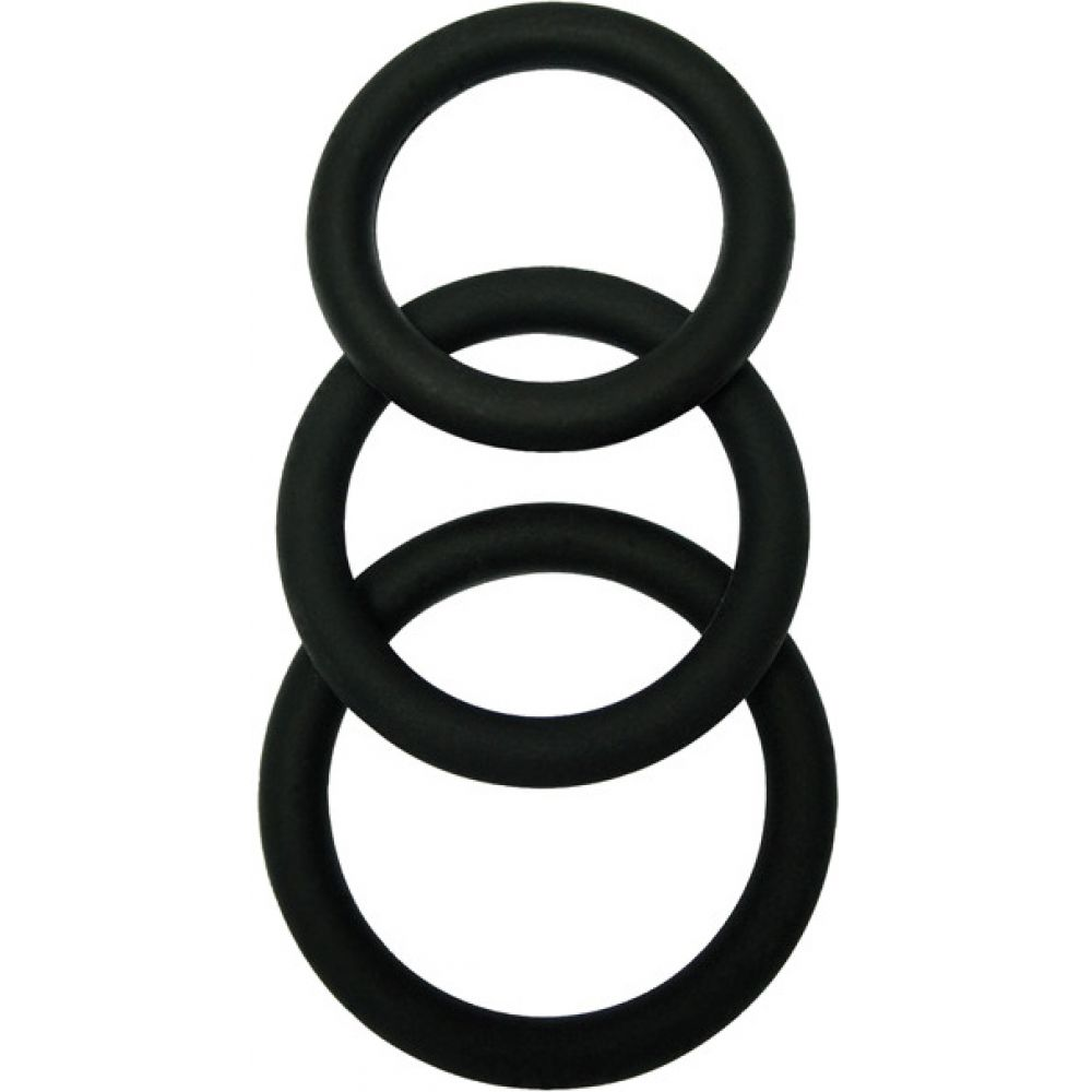 Malesation Cock Ring Set Black Pack of 3 - View #2