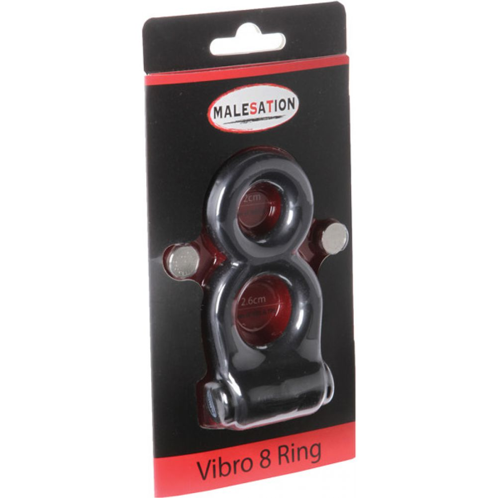 Malesation Vibro 8 Cock and Ball Ring Black - View #1