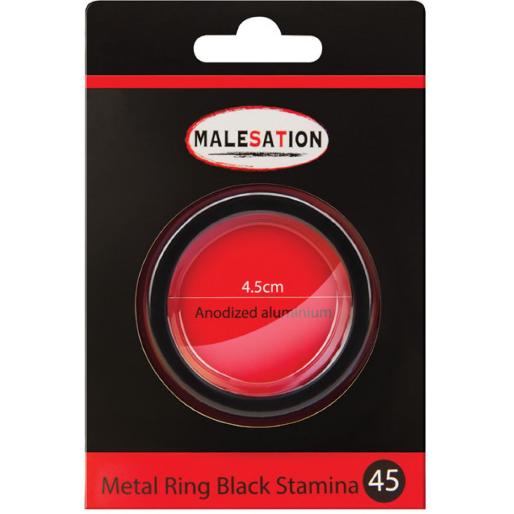 Malesation Nickel Free Metal Stamina Ring Black 45 Mm - View #1