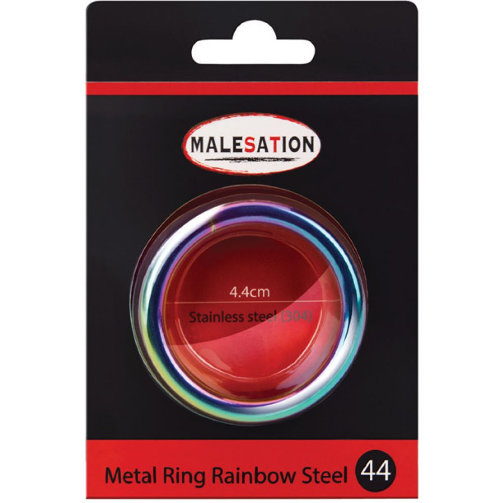 Malesation Nickel Free Stainless Steel Rainbow Cock Ring 44 Mm - View #1