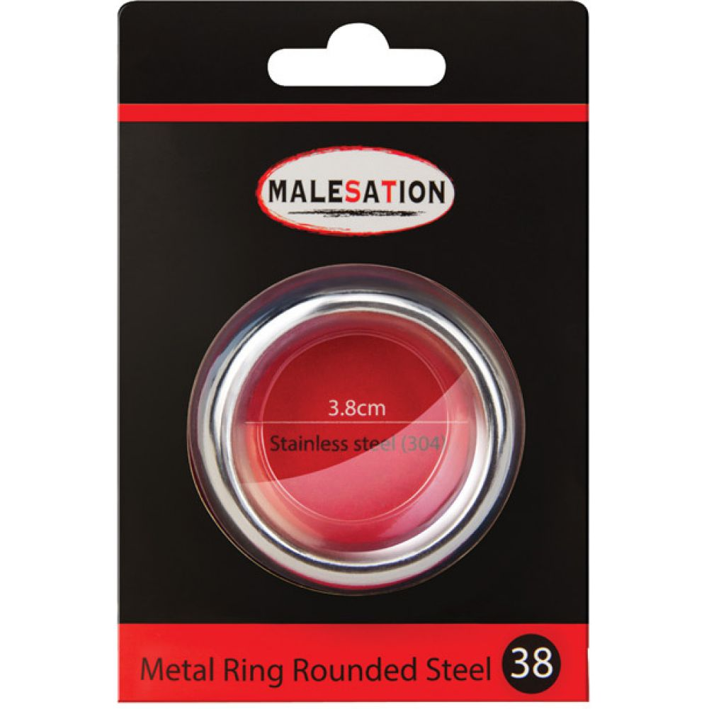Malesation Nickel Free Stainless Steel Rounded Cock Ring 38 Mm - View #1