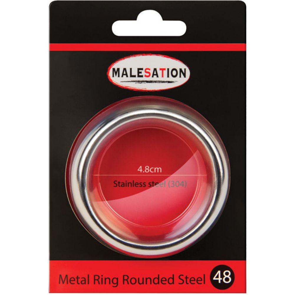 Malesation Nickel Free Stainless Steel Rounded Cock Ring 48 Mm - View #1