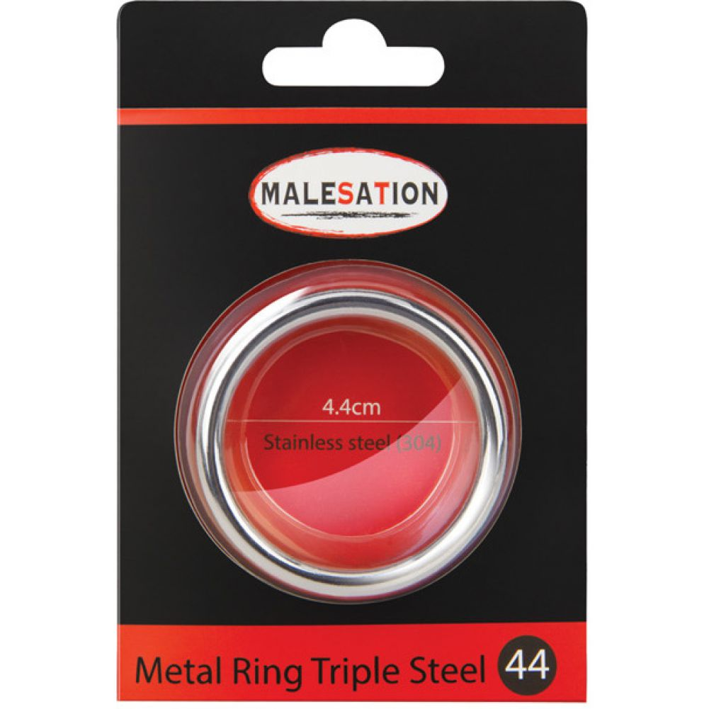 Malesation Nickel Free Stainless Steel Triple Cock Ring 44 Mm - View #1