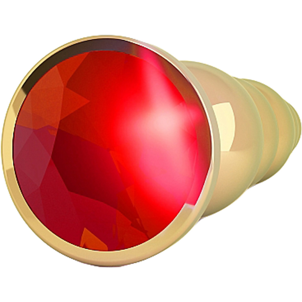 """Rich R5 Metal Anal Plug with Sparkling Sapphire 4.9"""" Gold/Red - View #3"""