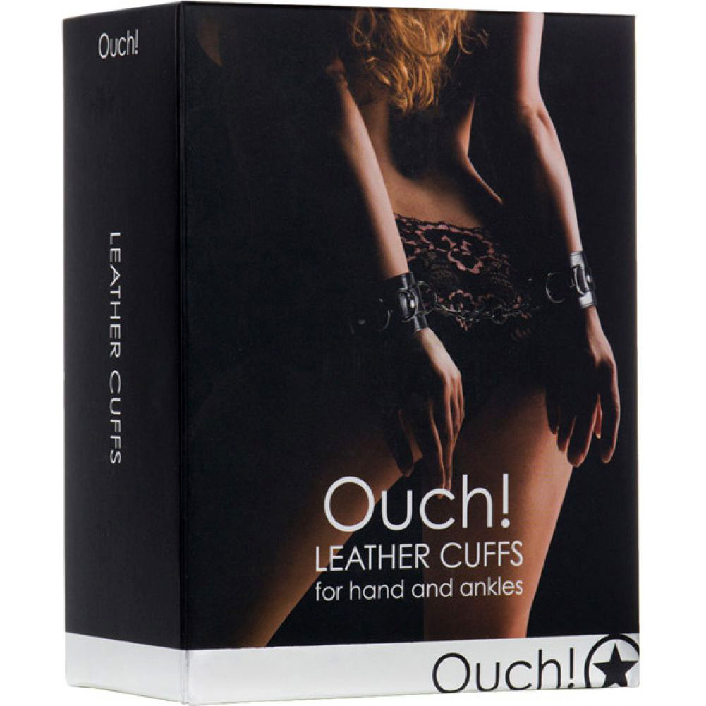 Ouch Leather Cuffs for Hands and Ankles One Size Classic Black - View #3