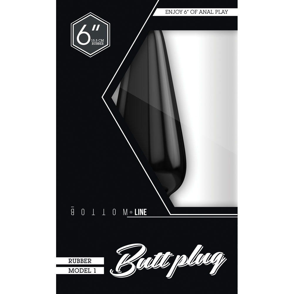 "Shots Bottom Line Buttplug 6"" Rubber Model 1 Black - View #1"