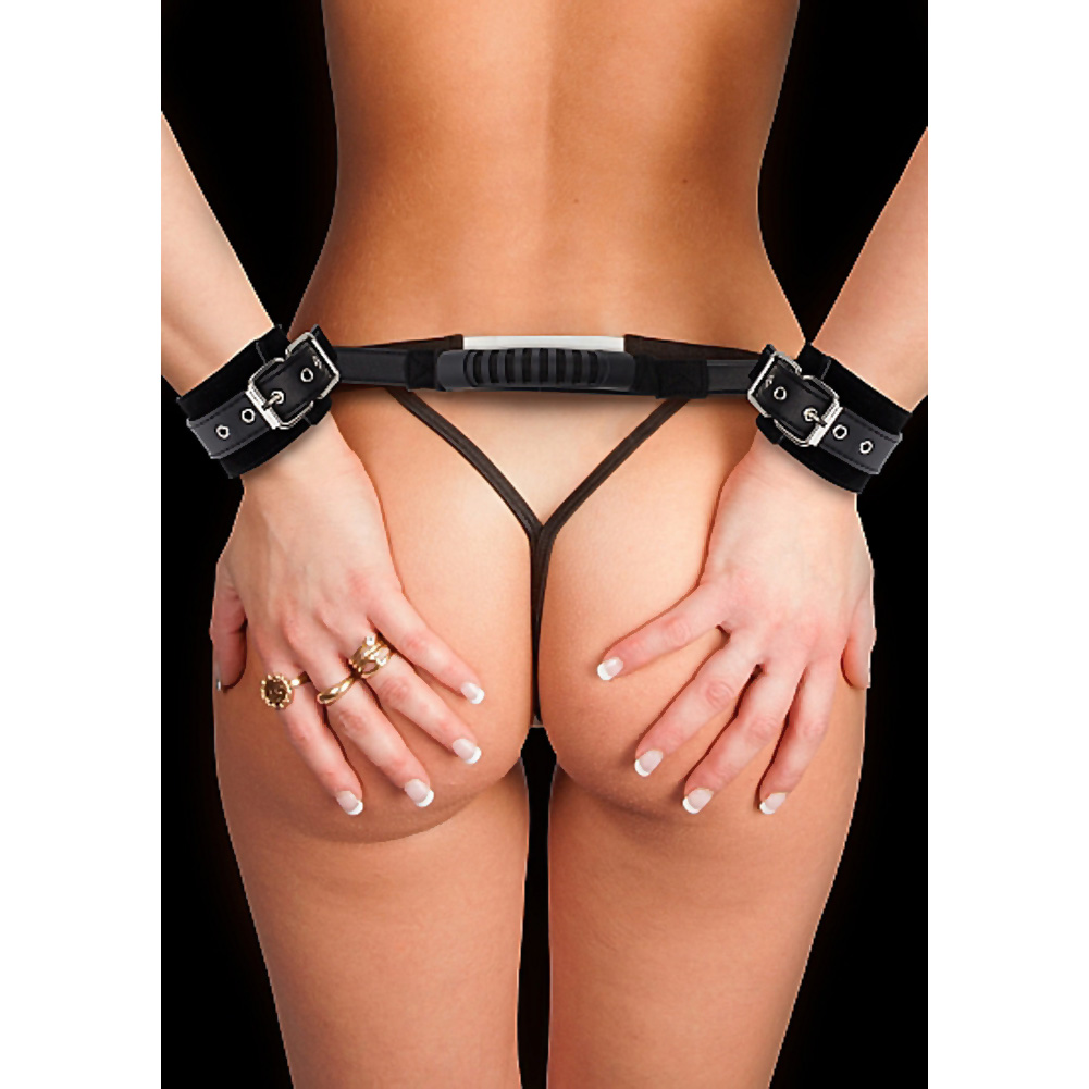 Shots Ouch Adjustable Leather Handcuffs Black - View #1