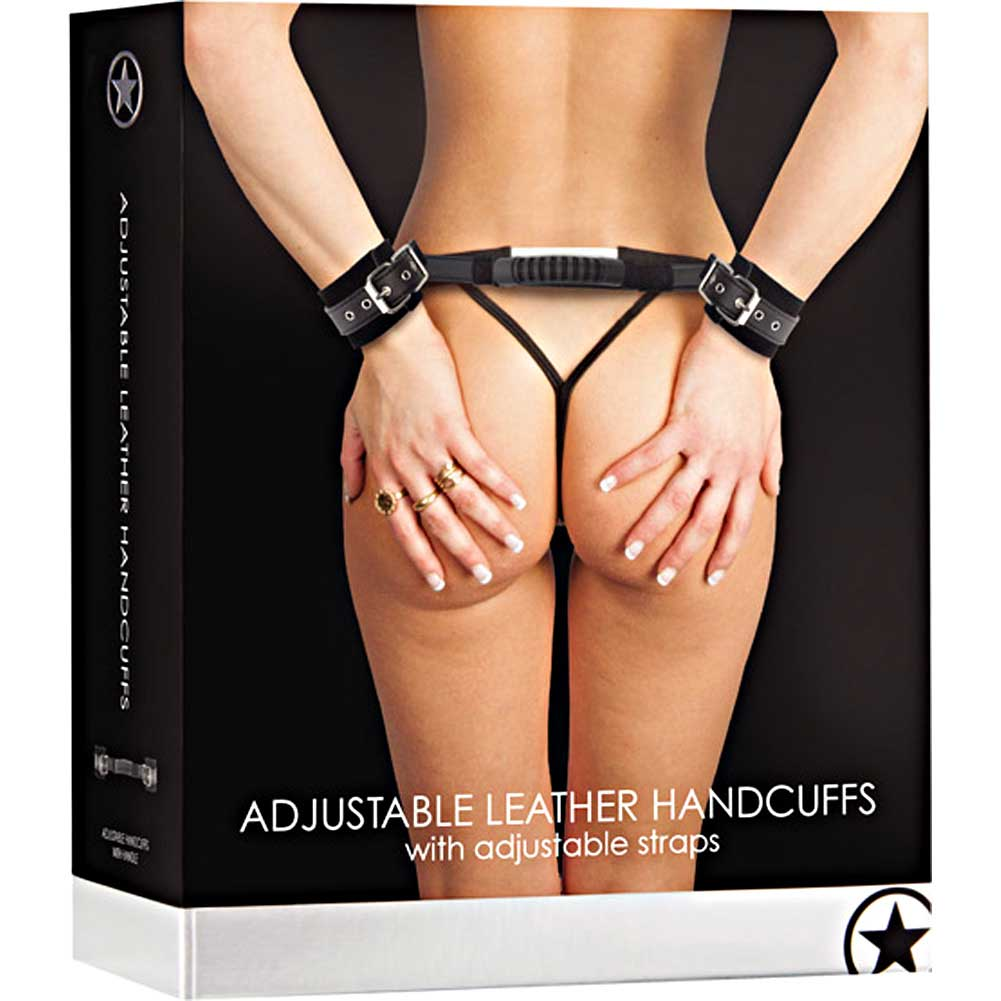 Shots Ouch Adjustable Leather Handcuffs Black - View #3