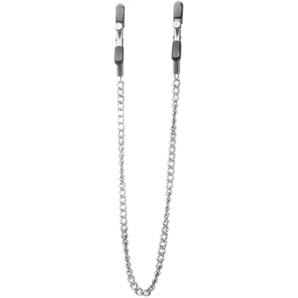 Ouch Adjustable Nipple Clamps with Metal Chain Silver - View #2