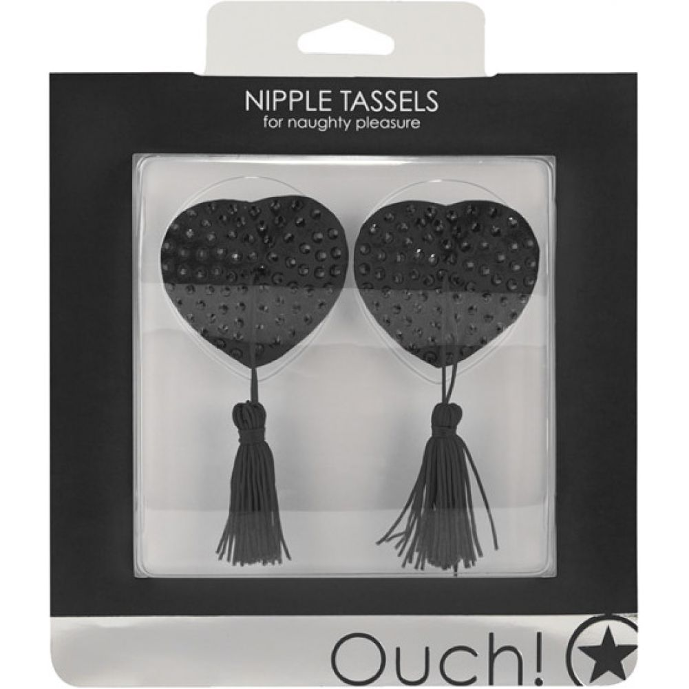 Shots Ouch Heart Shaped Nipple Tassels Black - View #1