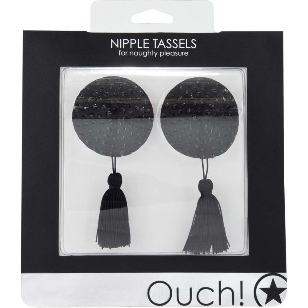 Ouch Round Naughty Pleasure Nipple Tassels Black - View #1