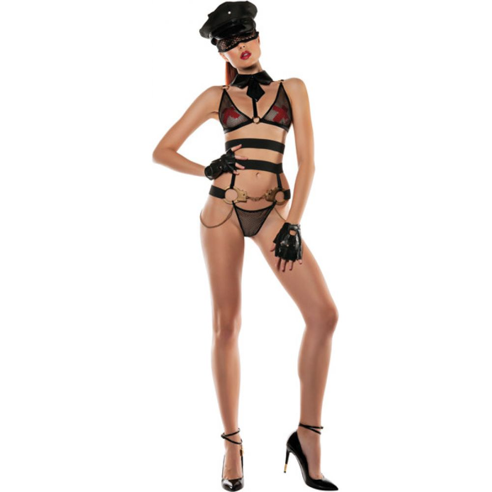 Role Play Officer Bra with Attached Collar Bottom with Attached Handcuffs - View #3