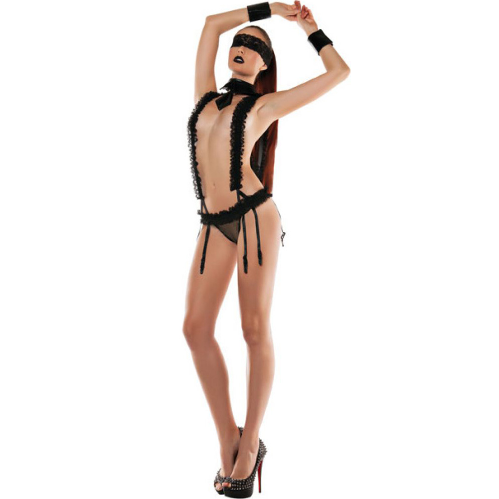 Roleplay Lace Suspender Playsuit with Neck Collar Small/Medium Black - View #3