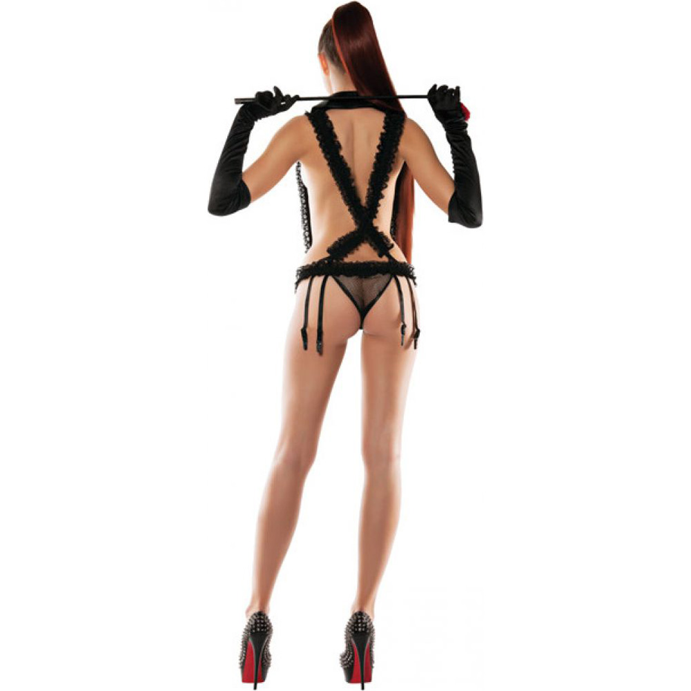 Roleplay Lace Suspender Playsuit with Neck Collar Medium/Large Black - View #4
