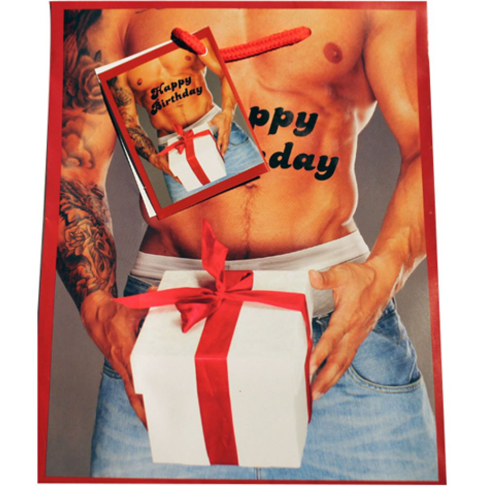 Kalan Happy Birthday Man Holding Gift Box with Red Bow Gift Bag - View #1