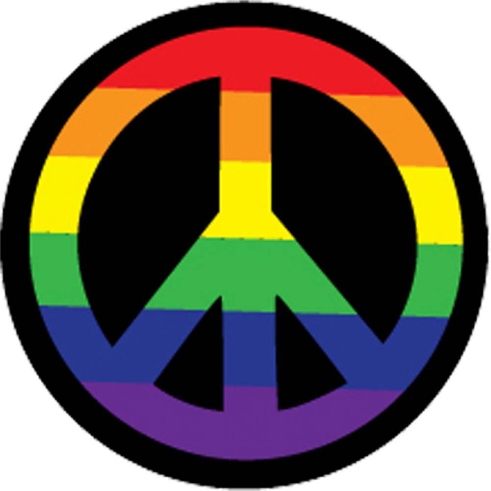 "Kalan Rainbow Peace Sign 3"" Button - View #1"